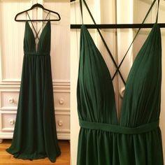 Sexy Handmade Dark Green V-neckline Cross Back Prom Dresses 2018, Dark Green Party Dresses
