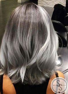 Granny Silver/ Grey Hair Color Ideas: Balayage Grey Medium-Length Hair (Hair Color Tips) Medium Hair Styles, Short Hair Styles, Silver Grey Hair, Grey Hair Bob, Silver Blonde, Brown Hair, Ombré Hair, Hair Shades, Ombre Hair Color