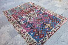 159 cm x 216 cm 5,3 ft x 7,2 ft ,Geometric şarköy kilim,nice pink and blue color KilimTapis,Alfombra,Matta,Barak Kilim,Vintage Kilim Rug