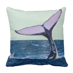 This throw pillow features a humpback whale displaying its huge tail fluke off the waters of Surfers Paradise, Australia during its annual migration.