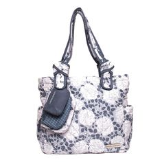 Laura Ashley, the quintessential English lifestyle brand, has created a line of beautiful and functional diaper bags to suit every need. This printed gray Floral 6 piece set is quilted in a chevron pattern using durable microfiber material and has a top zip closure ensuring your belongings stay inside. The 3 different sized pouches (embroidered or printed in a dot, solid or gray floral design) attached to the bag add a level of detail allowing the user to stash keys, phone, wallet or any…