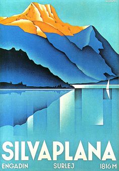 H. Handschin, designer of this very elegant Swiss vintage travel poster, 1934. #vintagetravelposter #Switzerland