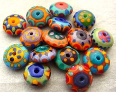 Happy Discs - Handmade Lampwork Glass Beads (15) by Anne Schelling, SRA