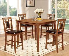 Dining Room Bennett 5Piece Light Oak Counter Height Dining Set Chair N Table Set #FurnitureOfAmerica #Contemporary #Furniture #Dining #Chair #Table