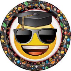 "9"" Emoji Graduation Party Plates, 8ct"