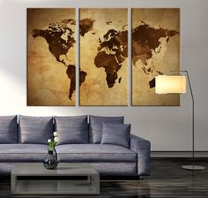 Retro world map canvas print art drawing on old wall watercolor art canvas print world map art on vintage background brown 3 panel world map print on canvas framed and streched gumiabroncs Choice Image