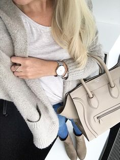 #winter #fashion //  Grey Cardigan // White Tee // Skinny Jeans // Cream Leather Tote Bag