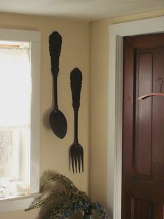 Spoon And Fork Wall Decor vintage large metal spoon and fork wall decor | wall decor, metals