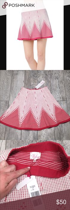 "Parker toccara Crimson pink red mini skirt Parker toccara pink red mini skirt. Really pretty Crimson and white pattern. Stretchy and comfortable. NWT. Size XS . 12"" waist, 17"" length Parker Skirts Mini"