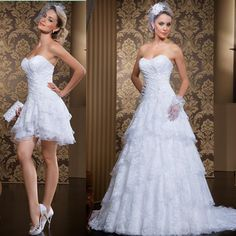 Vintage Two Pieces Lace Wedding Dresses 2015 Spring Strapless Ruched Tiers Short Bridal Dress Gowns With Detachable Skirt