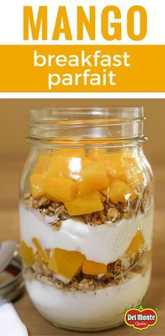 This Mango Breakfast Parfait recipe is so easy, it only has one step! Just spoon alternating layers of yogurt, granola and diced mango in a bowl, mason jar or to go container, and you've got a healthy breakfast or snack in 5 minutes. Find Del Monte canned Diced Mangos at your local supermarket in the canned fruit aisle.