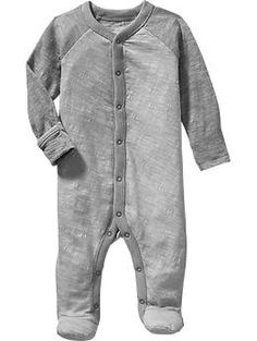 Old Navy Footed Sleepers for Baby | ★ as far as we're concerned, this is the perfect onesie design: rollover cuffs, footed legs, snaps down the front & both legs = easy to get baby in and out (even a newborn with floppy limbs and neck), easy to check diaper status, and easy to cover baby's hands and feet if it's cold, or to prevent scratches from sharp fingernails. Little Bundles Footed One-Piece 2-Packs for Baby