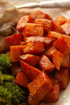 Maple roasted sweet potatoes are a delicious and simple side that's perfect for Thanksgiving or any Fall evening meal. via @jugglingactmama Loaded Baked Potato Casserole, Potatoe Casserole Recipes, Sweet Potato Recipes, Side Dish Recipes, Recipes Dinner, Keto Recipes, Cooking Recipes, Healthy Recipes, Healthy Cooking