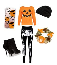"""""""Halloween"""" by emilyanicole ❤ liked on Polyvore featuring Boohoo, Yves Saint Laurent, Casetify, Kim Rogers and Rick Owens"""