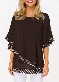 Stylish Tops For Girls, Trendy Tops, Trendy Fashion Tops, Trendy Tops For Women Stylish Tops For Girls, Trendy Tops For Women, Blouses For Women, St. Patricks Day, Mode Plus, Polka Dot Print, Ladies Dress Design, Blouse Designs, Fashion Clothes