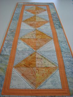 Quilted Table RunnerMelon and Dove Grey Batiks by VillageQuilts