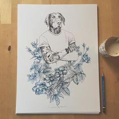 ...os presento a Mr Dogbath, convertido en  100 serigrafías numeradas y firmadas que la @lagaleriaroja se encarga de vender a través de su proyecto @ilustra_shop , encantada de participar en cosas molonas❤️