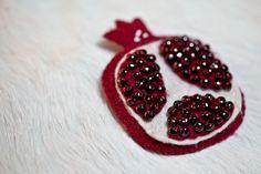 Garnet Pomegranate Beaded Felt Brooch by hedgehogandrabbit on Etsy