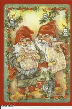 Gnomes (Dwarves) are reading letters, cat with them, Signed by Ingrid Elf - Store Item# Vintage Christmas Cards, Vintage Cards, Christmas Postcards, Christmas Images, David The Gnome, Elves And Fairies, Forest Creatures, Gif Animé, Mythological Creatures