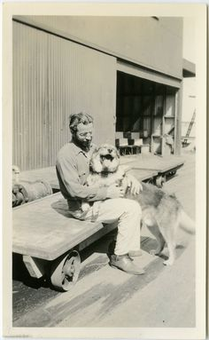 1930s Man with Beard Holding LAUGHING DOG  - snapshot 461-A