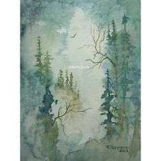 Mountain View, Print of Original Watercolor Painting, to be used  by... ($25) ❤ liked on Polyvore featuring home, home decor, wall art, watercolor wall art, water color painting, watercolour paintings, landscape wall art and mountain home decor