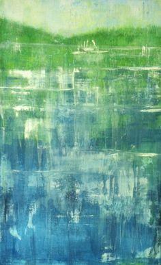 """Lake Impression #4"", 2013, acrylic, dye, plaster compound, Bill Judkins"