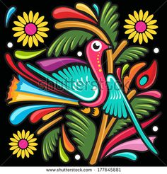 Colorful Bird / mexican style illustration made in a popular paper with a twist…