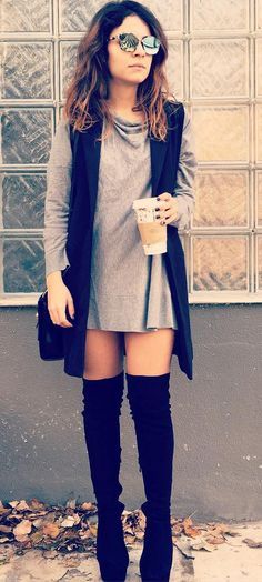 Claire from Fashion Has It blog wearing #MIGATO ES425 over-the-knee boots!