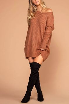 Cold outside rust knit sweater dress. Casual Fall Outfits, Fall Winter Outfits, Autumn Winter Fashion, Casual Summer, Womens Fashion For Work, Teen Fashion, Fast Fashion, Milan Fashion, Fashion Photo
