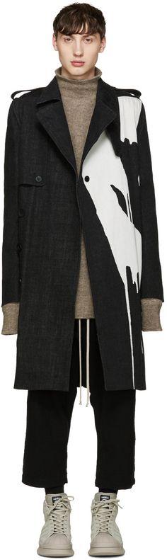 2405€ Rick Owens - Trench en denim décoloré noir