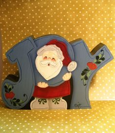 pictures of hand painted wooden christmas decorations | Joy Santa Wooden Hand Painted Christmas Shelf Sitter OOAK Gift ...
