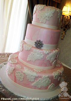 lace appliqu, wedding cakes, blush pink, pink marbl, marbl fondant