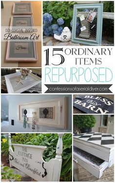 15 Ordinary Items Repurposed 15 Ordinary Items Repurposed from Confessions of a Serial Do- it-Yourselfer Repurposed Items, Repurposed Furniture, Repurposed Shutters, Refurbished Furniture, Furniture Makeover, Diy Furniture, Chair Makeover, Antique Furniture, Thrift Store Furniture
