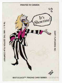 Beetlejuice Animated # 20 Glow-in-the-Dark Stickers - Dart Cards 1990
