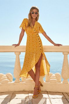 After-Bloom Delight Golden Yellow Floral Print Midi Dress 5