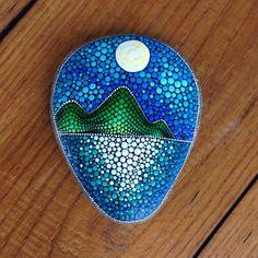 Big Dot Art Sunset stone - Painted stone painted rock Fairy garden marker…