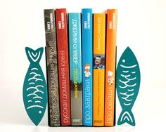 Bookends -Fish- laser cut for precision these turquoise bookends will hold your favorite cookbooks