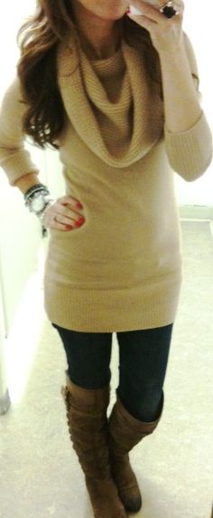 long sweater, leggings and boots! Cute