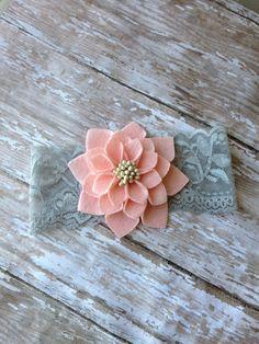 Peach Flower Headband on Gray Vintage Lace, Baby Headband, Girls Lace Headband, Newborn Headband on Etsy, $8.99