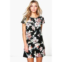 Boohoo Cara Floral Printed Shift Dress ($26) ❤ liked on Polyvore featuring dresses, multi, white cami, floral shift dress, white dress, floral bodycon dress and holiday dresses