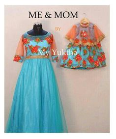 stunning mother / daughter outfits with clever use of floral material