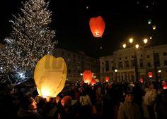 La celebración en el centro de Bratislava. Las linternas, soňados nuevos, los retos y el tiempo bueno :)