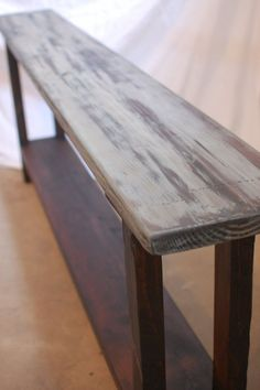 Furniture, Long And Narrow DIY Console Table Made From Reclaimed Wood For Saving Hallway Spaces With Vintage Furniture Ideas ~ Reclaimed Wood Console Table