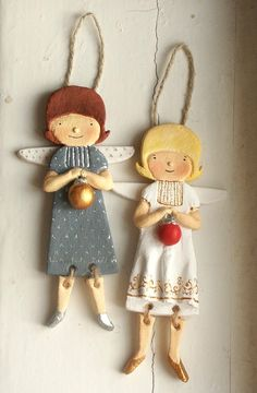 Fine Porcelain China Diane Japan Value Refferal: 8919513450 Angel Crafts, Christmas Crafts, Christmas Ornaments, Polymer Clay Dolls, Polymer Clay Miniatures, Clay Ornaments, Angel Ornaments, Pottery Angels, Salt Dough Crafts