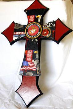 Marine Corps Cross by Melody Pelham-Dvorak Mosaic Crosses, Wooden Crosses, Wall Crosses, Wooden Wall Art, Wooden Letters, Usmc, Marines, Military Cross, Sign Of The Cross