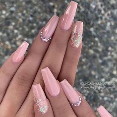 best and nail designs simple designs for women – Nail Art Pink Acrylic Nails, Pink Nail Art, Pastel Nails, Glitter Nails, Pink Glitter, 3d Nails, Blush Nails, Beige Nails, Pink Acrylics
