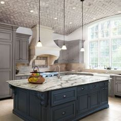 Awesome kitchen design with cambria countertops : transitional kitchen with greige cabinet and cambria quartz countertops Kitchen Slab, Kitchen Countertops, New Kitchen, Kitchen Ideas, Kitchen Redo, Kitchen Backsplash, Dark Counters, Kitchen Cabinets, Kitchen Hoods