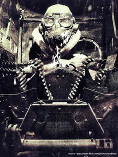 Turret gunner of a US bomber, WW2