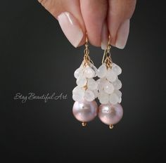 These unique Large Lavender Nucleated Pearls and Rainbow Moonstone Earrings are simple, minimal, modern and elegant. The fabulous addition to your jewelry collection. Moonstone Earrings, Pearl Drop Earrings, Beaded Earrings, Gemstone Jewelry, Silver Earrings, Beaded Jewelry, Handmade Jewelry, Stud Earrings, Skull Jewelry