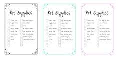 Period Kit Checklist Printable